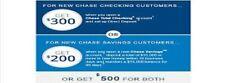 Chase $500 Bonus Offer $300 Checking $200 Savings expired 04/29