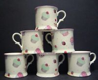 Set Of 6 Cup Cake Small English Fine Bone China Chintz Mugs Cups By Milton China
