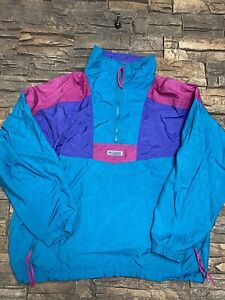 Columbia Radial Sleeve Windbreaker Colorblock Vtg 80s Jacket Teal Purple Sz XL