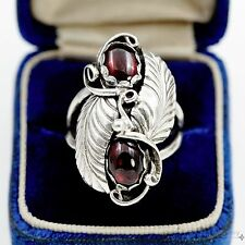 Vintage Native Pawn Navajo Sterling Silver Signed Ella Cowboy Amber Ring Sz 6.75