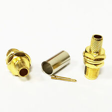 10X RP SMA Female jack male pin crimp RF coax connector for RG58 RG142 straight