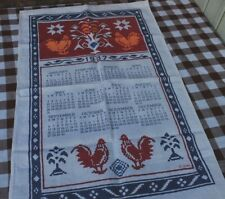 VINTAGE COTTON CALENDAR TEA TOWEL - PRINT CROSS STITCH CHICKEN DESIGN 1987