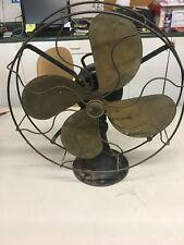 "Antique Vintage Emerson 29648 Electric Desk Fan 16"" Brass Blades"