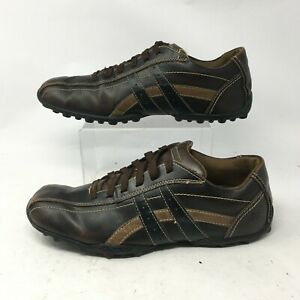 Skechers Relaxed Step Oxford Sneakers Mens 10.5 Square Toe Leather Brown 61181