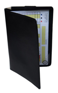NEU Golf Scorecard-Mappe Scorekarten-Halter Scorecard-Hülle Leder Golfgeschenk