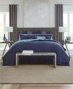 Tommy Hilfiger 3 Piece KING Comforter Set Ashcolt Dobby Striped BLUE D0Z140