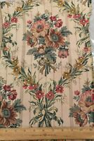 "Antique 19thC French Cotton/Silk Floral Jacquard Fabric Sample~L-19"" X W-11"""