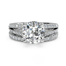 White Gold Band Set Ring Round Cut 1.20 Ct Solitaire Diamond Engagement Ring 14K