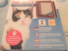 """CAT MATE - Lockable Cat Flap with Door Liner to 50mm 2"""" - Brown 234B - NEW BOXED"""