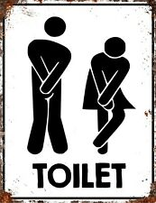 Vintage Metal Funny TOILET Bathroom Mens Ladies Unisex Washroom Door Wall Sign