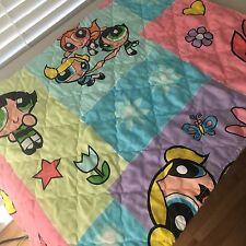 RARE! Vintage Vtg 90's 00's Powerpuff Girls Thin Quilt Blanket Bedspread Bedding