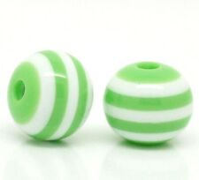 200 Round GREEN and WHITE Acrylic Striped Beads 8mm  bac0044