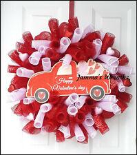 Valentine's Day Truck Deco Mesh Door Wreath, {Handmade}