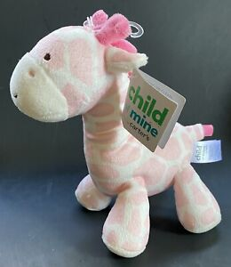 Carter's Child Of Mine Pink & White Giraffe Plush Rattle Baby Toy Lovey NEW