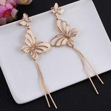 New~ Betsey Johnson Rhinestone  Butterfly long Dangle earrings  & free gift