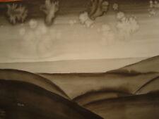 Paysage imaginaire art contemporain grande encre signée T1993 ? 65cm par 49,7cm