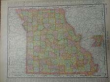 Nice colored map of Missouri or Iowa -1907 Universal Atlas of the World