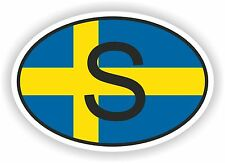 OVAL FLAG WITH S SWEDEN COUNTRY CODE STICKER CAR MOTOCYCLE AUTO TRUCK