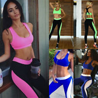 Women Athletic Gym Yoga Clothes Running Fitness Sports Bras + Compression Pants