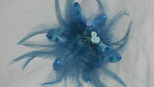 NEW LT BLUE FEATHER FASCINATOR HAIR CLIP, CORSAGE or BROOCH