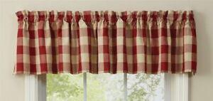 "1 Wicklow Garnet Red Buffalo Check Country Farmhouse Window Valance 72"" x 14"""