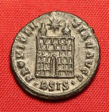 Ancient Roman Silvered Bronze AE3 Coin, Constantinus - Camp Gate