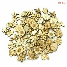 50pcs Laser Cut Wood Flowers leaves Embellishment Wooden Shape Craft Decor Hot