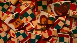 Solid Red and Patterned Tiles Trio Broken Plate Mosaic Tiles