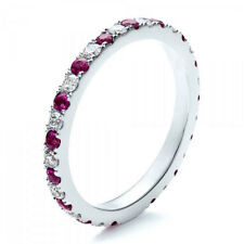 Anniversarry Band Ring 14k Gold Plated 0.50 Cts Ruby Diamond Eternity Wedding