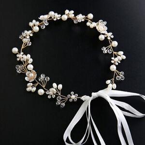 Girl Pearl Flower Rhinestone Headband Crown Headdress Wedding Xmas Party Jewelry
