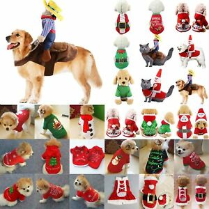 Pets Dogs Cat Jumper Christmas Santa Sweater Puppy Pullover Hoodie Fancy Dress
