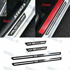 X4 Cadillac Carbon Fiber Car Door Welcome Plate Sill Scuff Cover Decal Sticker