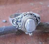 925 Solid Silver Balinese Poison/Wish Locket Ring Rainbow Moonst Size 7-H66