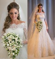 Long Sleeve Lace Wedding Dress Bridal Vintage Gown White/Ivory Custom Size