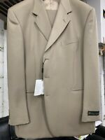 New 46L 3 Button Men's Beige Suit 100% Wool Made in Italy Retail $1295