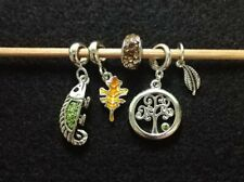 Tree Nature Lizard Theme 5 Beads Original Davinci Brand Bead & Charm Lot# 2-A