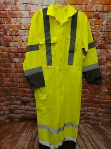 Mens Yellow Coverall High Viz Visibility Safety Overall Suit Reflective Trim Med