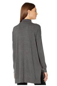EILEEN FISHER Gray High Neck Long Sleeve Tunic Top Soft Tencel Sz XL EUC