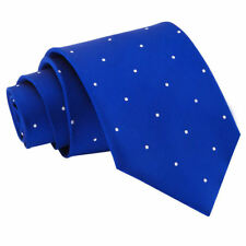 DQT Woven Pin Dot Dotted Royal Blue Formal Casual Mens Classic Tie