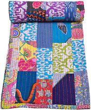 Indian Handmade Queen Quilt Kantha Bedspread Throw Cotton Blanket Gudari