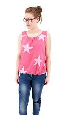 NEU Damen ITALY Bluse Top Shirt Sterne ärmellos Tunika dark pink rosa 38 40 42 M