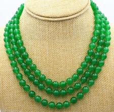 Charming ! 3 Rows 8mm Green Jade Gemstone Round Bead Necklace Jade 18-20''