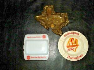3 Ashtrays --Lone Star Beer,&Texas BUDWEISER  plus brass Texas ashtray VIntage