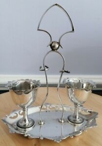 Israel Sigmund Greenberg Silver Plate Egg Cup Set/Tray for Two