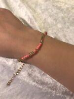 Coral Gold Clasp Semi Precious Stones Bracelet/anklet Friendship