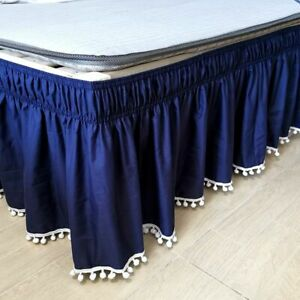 Bed Skirt Wrap Around Elastic Shirts Surface Twin Full Queen King Bedroom Hotels