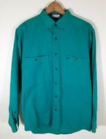 Sears Roebuck Men's Vintage 80's Teal Long Sleeve Button Down Shirt Size M