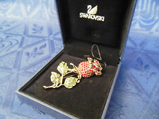 AUTHENTIC SWAN SIGNED SWAROVSKI ROSE PIN BROOCH RED & GREEN 1808215 WITH BOX