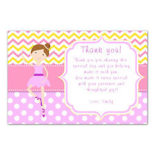 30 thank you cards baby girl shower personalized birthday ballerina ballet pink