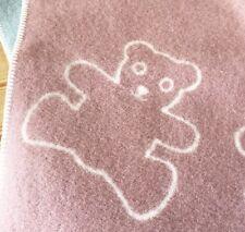Tweedmill 100% Pure New wool Baby Blanket Teddy Bear Pink REVERSIBLE NEW